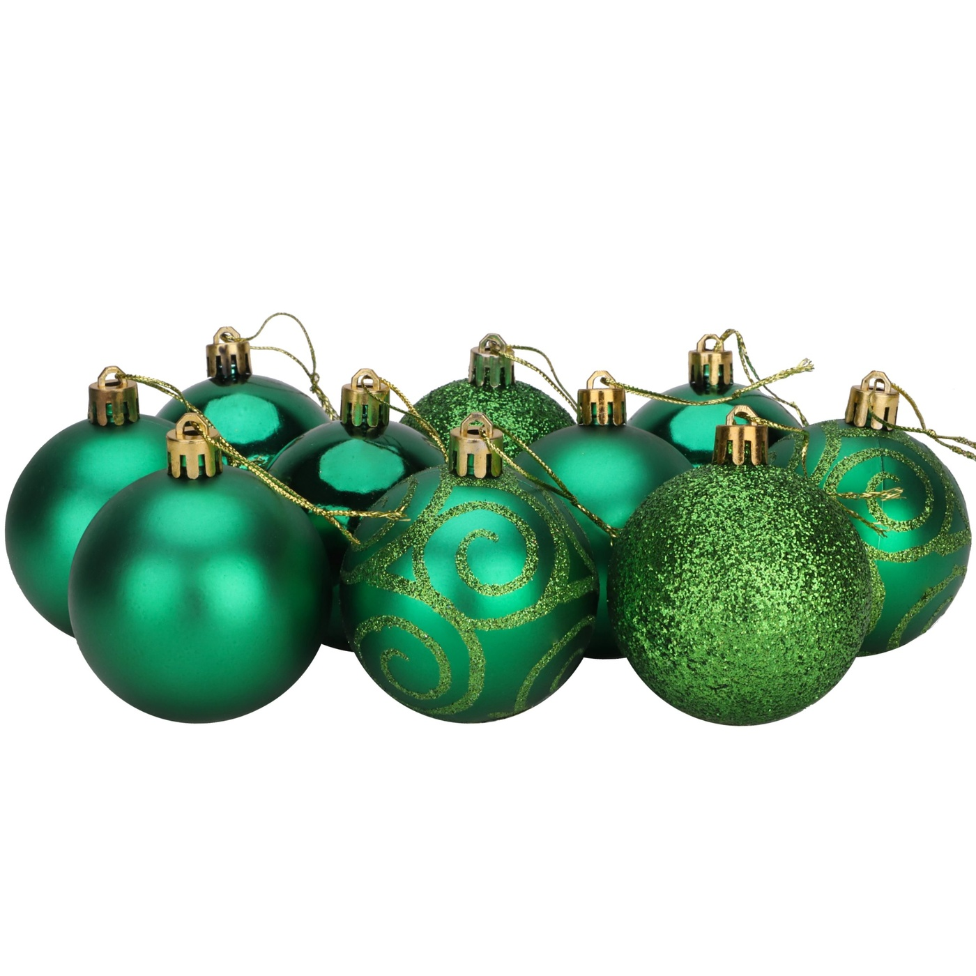Christmas Concepts Pack Of 10 60mm Christmas Tree Baubles Shiny Matte Glitter Decorated Baubles Emerald Green Christmas Concepts